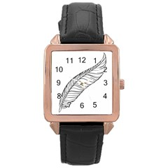 Feather Line Art Rose Gold Leather Watch  by Simbadda