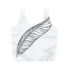 Feather Line Art Full Print Recycle Bags (m)  by Simbadda