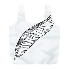 Feather Line Art Full Print Recycle Bags (l)  by Simbadda