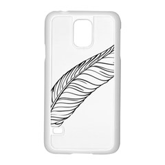 Feather Line Art Samsung Galaxy S5 Case (white) by Simbadda