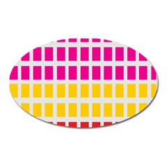 Squares Pattern Background Colorful Squares Wallpaper Oval Magnet by Simbadda