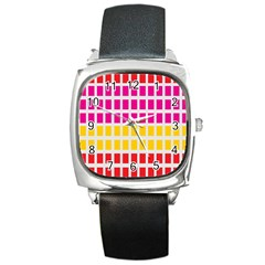 Squares Pattern Background Colorful Squares Wallpaper Square Metal Watch by Simbadda