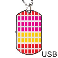 Squares Pattern Background Colorful Squares Wallpaper Dog Tag Usb Flash (one Side) by Simbadda