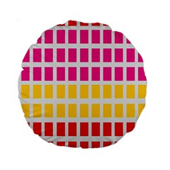 Squares Pattern Background Colorful Squares Wallpaper Standard 15  Premium Round Cushions by Simbadda