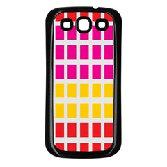 Squares Pattern Background Colorful Squares Wallpaper Samsung Galaxy S3 Back Case (black) by Simbadda