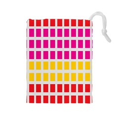 Squares Pattern Background Colorful Squares Wallpaper Drawstring Pouches (large)  by Simbadda