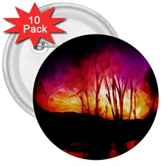 Fall Forest Background 3  Buttons (10 Pack)  by Simbadda
