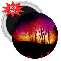 Fall Forest Background 3  Magnets (100 Pack) by Simbadda