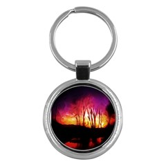 Fall Forest Background Key Chains (round)  by Simbadda