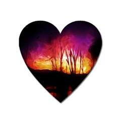 Fall Forest Background Heart Magnet by Simbadda