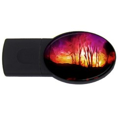 Fall Forest Background Usb Flash Drive Oval (2 Gb) by Simbadda
