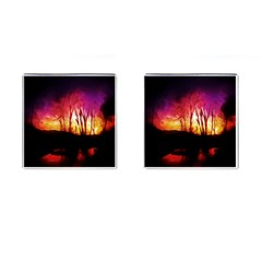 Fall Forest Background Cufflinks (Square) by Simbadda