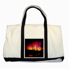 Fall Forest Background Two Tone Tote Bag by Simbadda