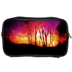 Fall Forest Background Toiletries Bags by Simbadda