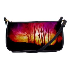Fall Forest Background Shoulder Clutch Bags by Simbadda