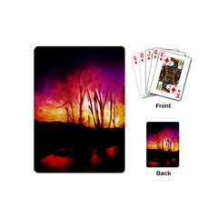 Fall Forest Background Playing Cards (mini)  by Simbadda