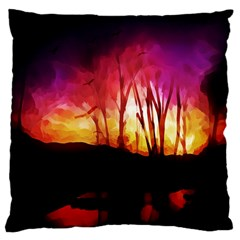 Fall Forest Background Large Cushion Case (one Side) by Simbadda
