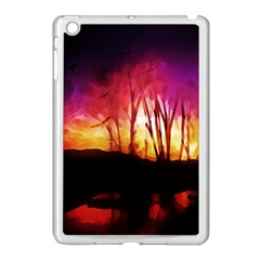 Fall Forest Background Apple Ipad Mini Case (white) by Simbadda
