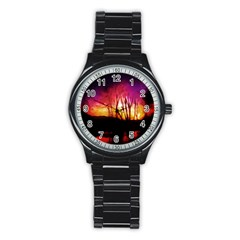 Fall Forest Background Stainless Steel Round Watch by Simbadda