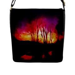 Fall Forest Background Flap Messenger Bag (l)  by Simbadda