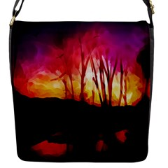 Fall Forest Background Flap Messenger Bag (s) by Simbadda
