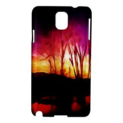 Fall Forest Background Samsung Galaxy Note 3 N9005 Hardshell Case by Simbadda