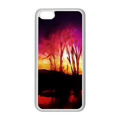 Fall Forest Background Apple Iphone 5c Seamless Case (white)