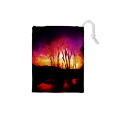 Fall Forest Background Drawstring Pouches (small)  by Simbadda