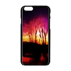 Fall Forest Background Apple Iphone 6/6s Black Enamel Case by Simbadda