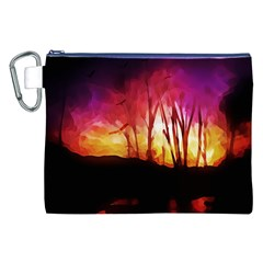 Fall Forest Background Canvas Cosmetic Bag (xxl) by Simbadda