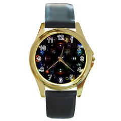 Geometric Line Art Background In Multi Colours Round Gold Metal Watch by Simbadda