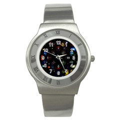 Geometric Line Art Background In Multi Colours Stainless Steel Watch by Simbadda
