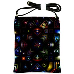 Geometric Line Art Background In Multi Colours Shoulder Sling Bags by Simbadda