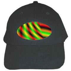 Neon Color Fractal Lines Black Cap by Simbadda