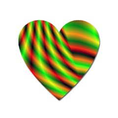 Neon Color Fractal Lines Heart Magnet by Simbadda