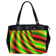 Neon Color Fractal Lines Office Handbags (2 Sides)  by Simbadda