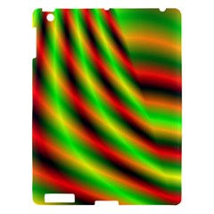 Neon Color Fractal Lines Apple Ipad 3/4 Hardshell Case by Simbadda