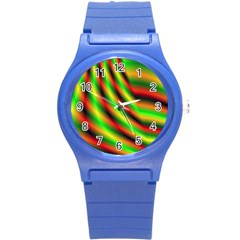 Neon Color Fractal Lines Round Plastic Sport Watch (s) by Simbadda