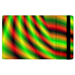 Neon Color Fractal Lines Apple Ipad 2 Flip Case by Simbadda