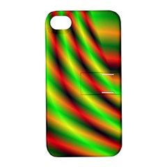 Neon Color Fractal Lines Apple Iphone 4/4s Hardshell Case With Stand by Simbadda