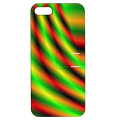 Neon Color Fractal Lines Apple Iphone 5 Hardshell Case With Stand by Simbadda
