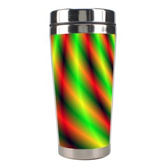 Neon Color Fractal Lines Stainless Steel Travel Tumblers by Simbadda