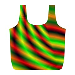 Neon Color Fractal Lines Full Print Recycle Bags (l)  by Simbadda