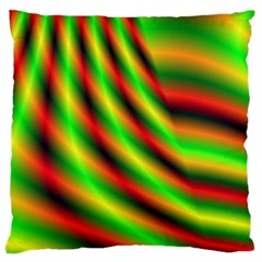 Neon Color Fractal Lines Large Flano Cushion Case (two Sides) by Simbadda