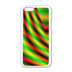 Neon Color Fractal Lines Apple Iphone 6/6s White Enamel Case by Simbadda