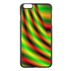 Neon Color Fractal Lines Apple Iphone 6 Plus/6s Plus Black Enamel Case by Simbadda