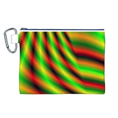 Neon Color Fractal Lines Canvas Cosmetic Bag (l) by Simbadda