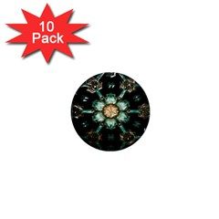 Kaleidoscope With Bits Of Colorful Translucent Glass In A Cylinder Filled With Mirrors 1  Mini Magnet (10 Pack)