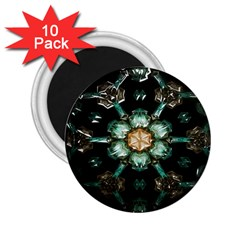 Kaleidoscope With Bits Of Colorful Translucent Glass In A Cylinder Filled With Mirrors 2 25  Magnets (10 Pack)
