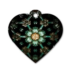 Kaleidoscope With Bits Of Colorful Translucent Glass In A Cylinder Filled With Mirrors Dog Tag Heart (one Side) by Simbadda